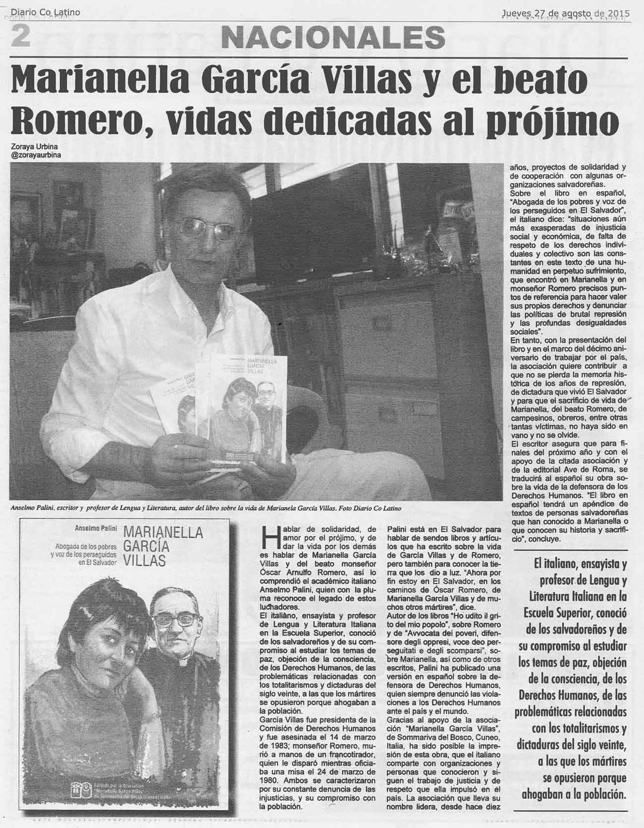 """""""Diario Co Latino"""", quotidiano di San Salvador, 27 agosto 2015, pag. 2"""